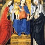 Изабелла Арагонская, герцогиня Милана, изображена здесь в трех образах: как святая Екатерина Александрийская, как Дева с младенцем и как Святой Екатерины Сиенская