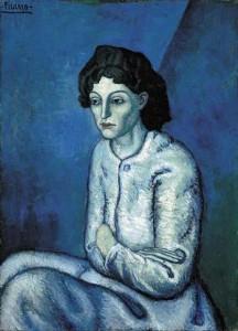 """""""Женщина со скрещёнными руками"""", Пабло Пикассо, 1901-1902 года. Размер 58.5 - 81.5 см"""