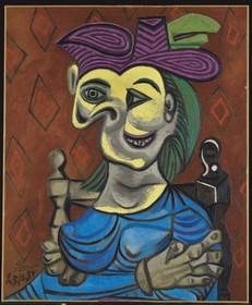 """Пабло Пикассо """"Сидящая женщина в синем платье"""", 1939 г."""
