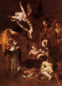 Микеланджело Караваджо «Рождество со св. Франциском и св. Лаврентием». Холст, масло. 1608. Часовня Сан-Лоренцо, Палермо