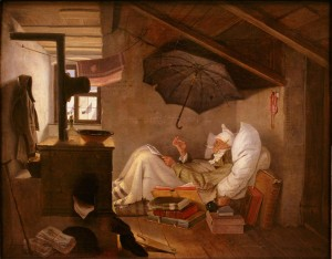 Карл Шпицвег «Бедный поэт». Холст, масло. 1839. Новая пинакотека, Мюнхен